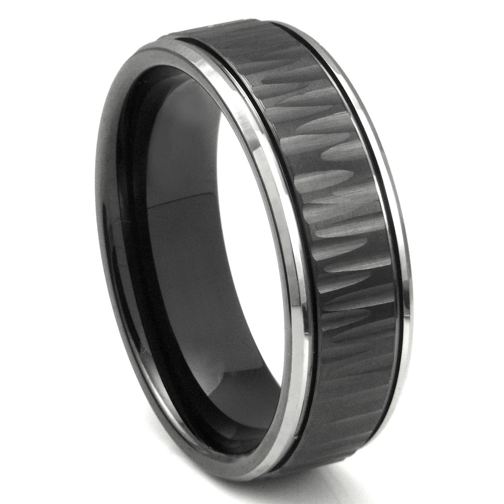 Black Tungsten Carbide 8MM Hammer Finish Newport Wedding