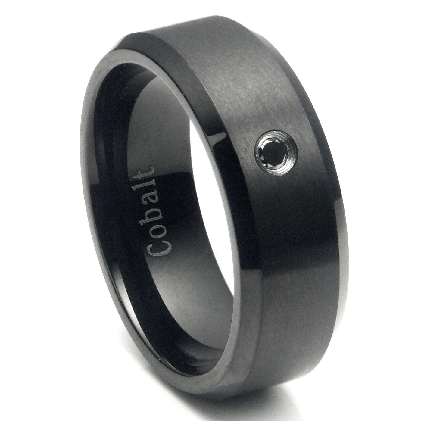 Cobalt Chrome Black Plated Black Diamond Wedding Band Ring