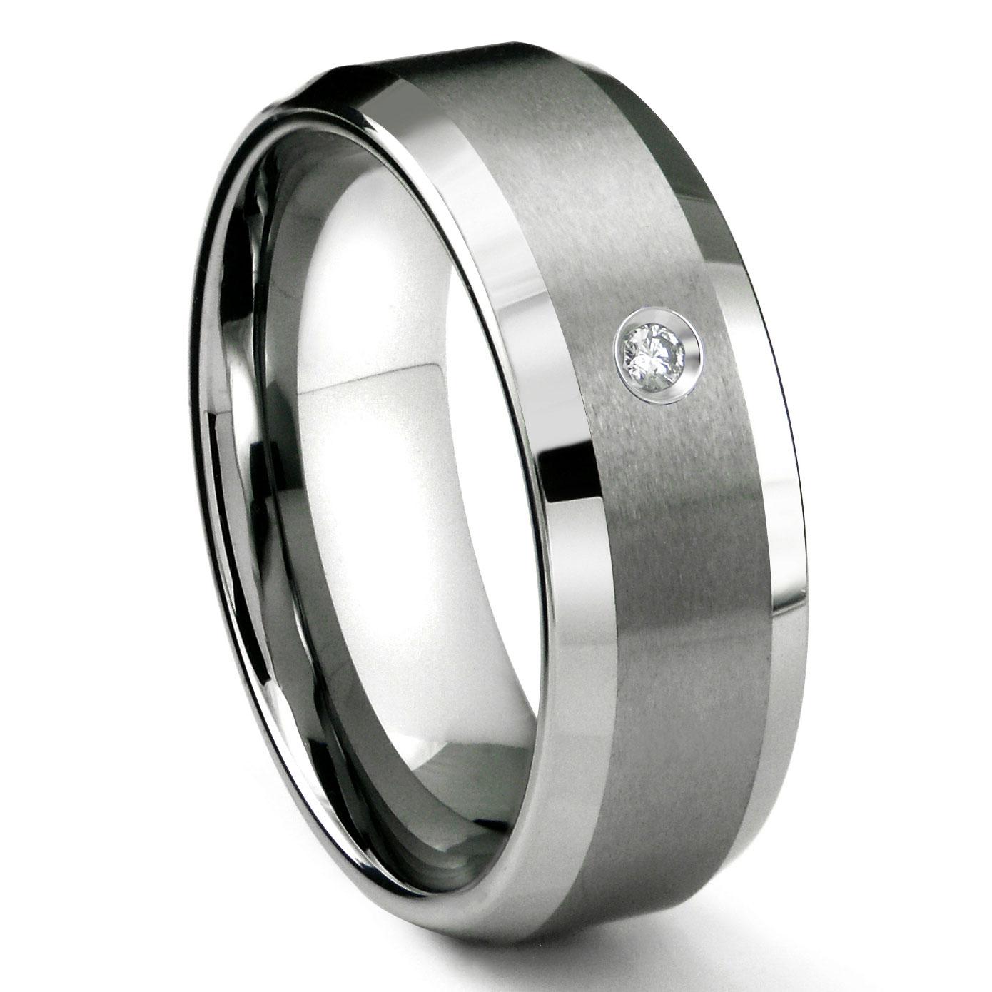 Tungsten Carbide 8MM Satin Finish Beveled Diamond