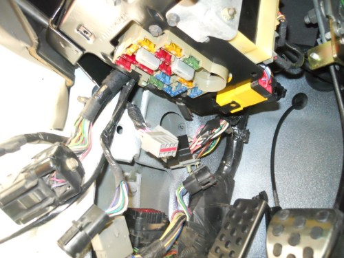 small resolution of on the drivers side the dash harness connects to the main body harness with the large black connector and smaller ones too