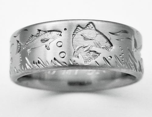 DeSoto 4 Titanium Ring With Fish Titanium Wedding Rings