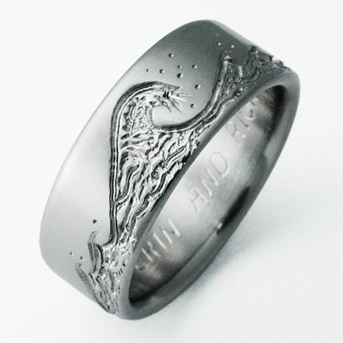 Eastbourne 3 Titanium Ring With Waves Titanium Wedding