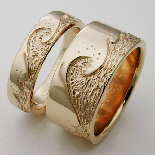 Eastbourne 3 titanium ring with waves  Titanium Wedding Rings Handcrafted by Exotica Jewelry