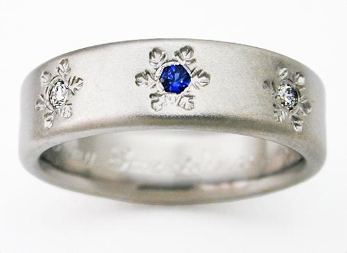 Estes 2 Titanium Ring With Snowflakes Titanium Wedding