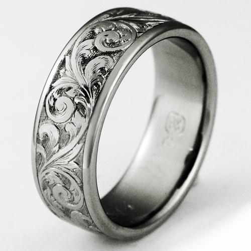 Exeter 1 Titanium Ring With Scrollwork Titanium Wedding