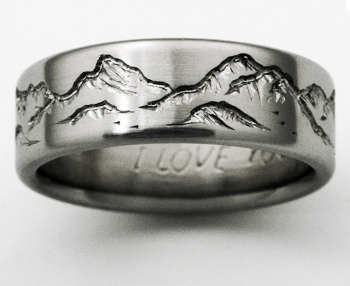 Montana 2 titanium ring with mountains  Titanium Wedding Rings Handcrafted by Exotica Jewelry