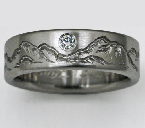 Montana 3 Titanium Ring With Mountains Titanium Wedding