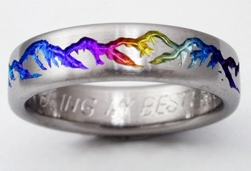 Montclair 2 titanium ring with mountains  Titanium Wedding Rings Handcrafted by Exotica Jewelry