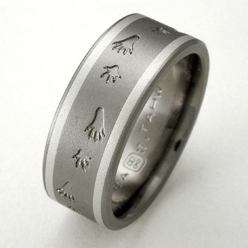 Silvis Titanium Ring With Raccoon Tracks Titanium