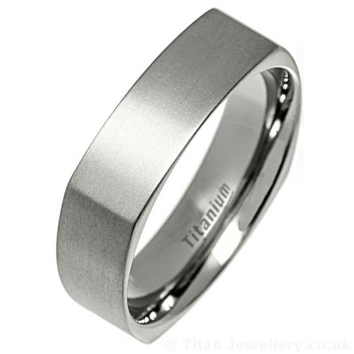 Mens 6mm Square Satin Brushed Titanium Ring Mens