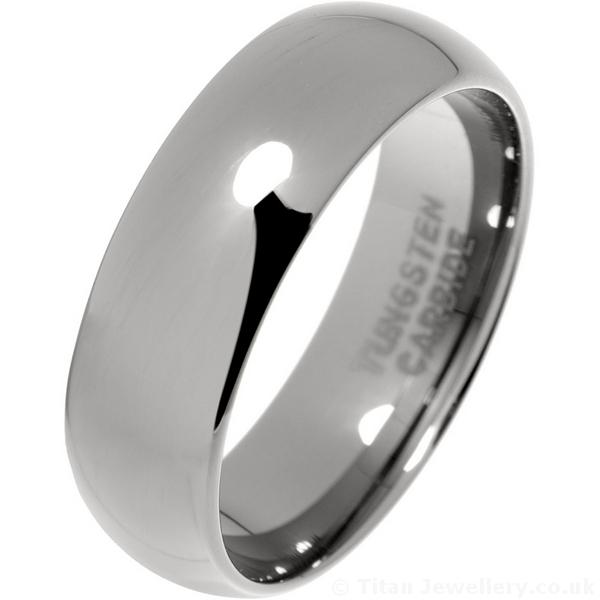 Mens 7mm Classic Court Tungsten Carbide Wedding Ring