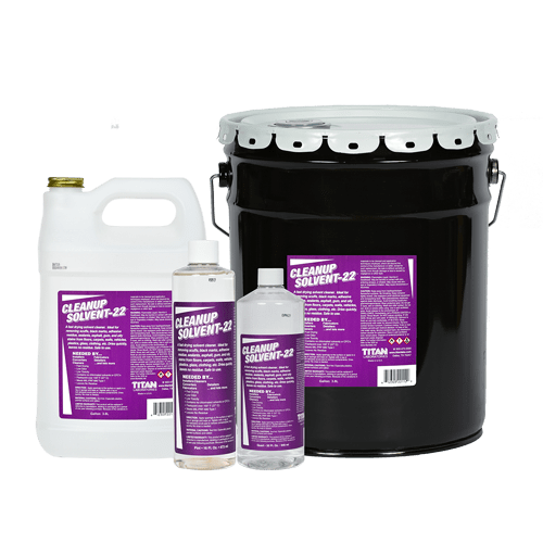 Cleanup Solvent-22 evaporates quickly and works on all kinds of stains and adhesives. Visit www.TitanLabs.net or call +1 800-475-3300 for more information