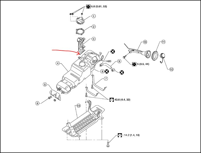 2005 nissan armada fuel filter location
