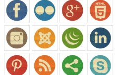 20 Retro Round Social Media Icons