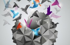3D Paper Cranes Vector Illustration 01