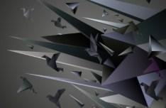 3D Paper Cranes Vector Illustration 02