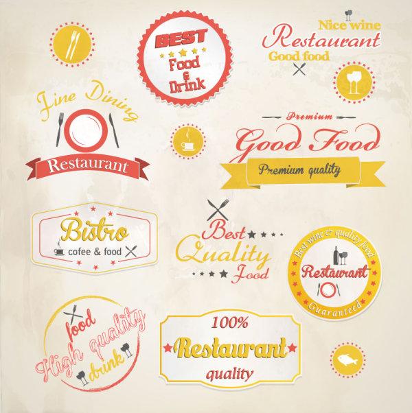 Cartoon Restaurant Label Vector Material