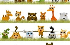 Colored Drawing Cartoon Animals Vector