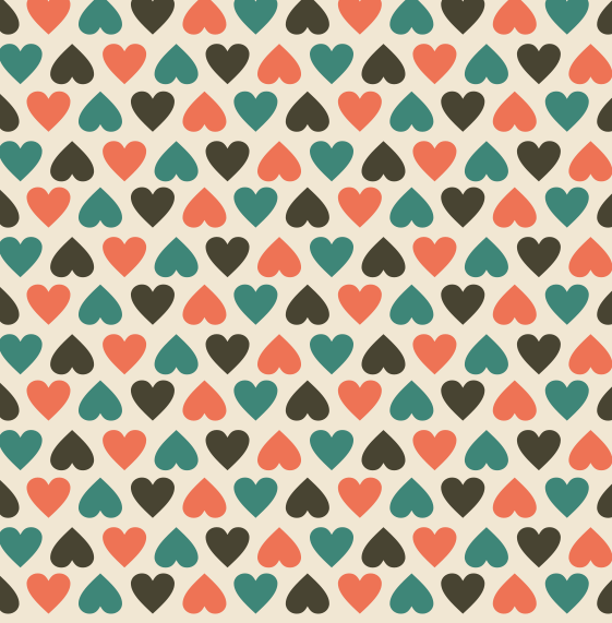 Colored Heart-shaped Tile Vector Pattern