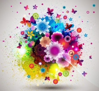 Colorful Floral Grunge Vector