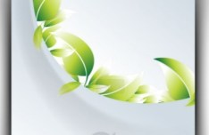 Ecology Concept Vector Cards with Green Leaves 04
