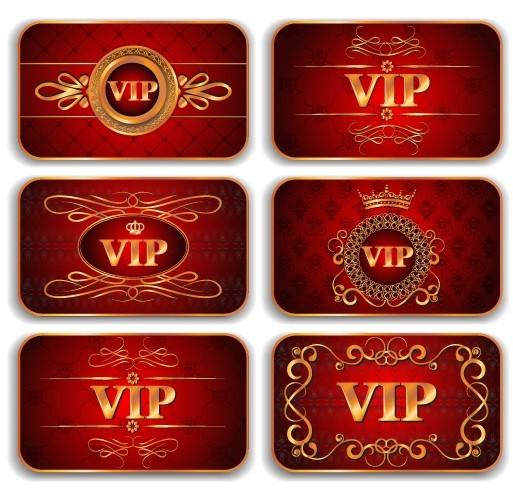 Elegant Golden Border VIP Card Vector 04