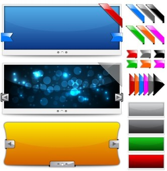 Exquisite Color Transition Banner and Ribbon Vector