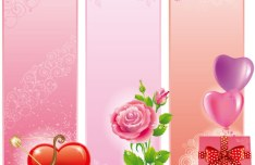 Exquisite Vertical Valentine's Day Banner Vector 02