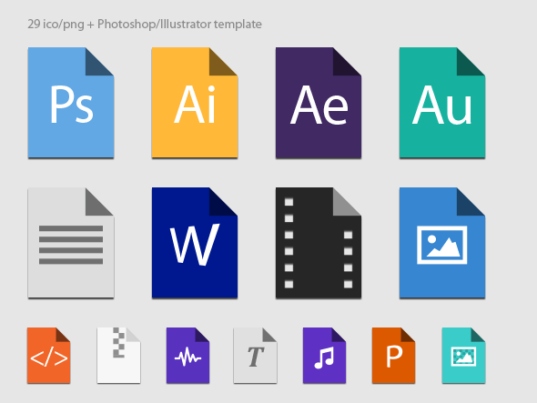 File Types Icons (ICO, PNG, PSD and AI)