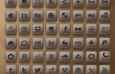 Free Leather Social Icons