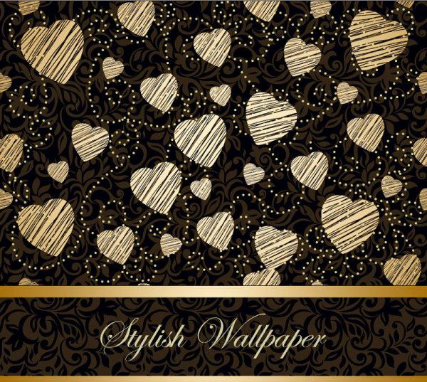 Golden Heart-shaped Pattern Background 4