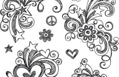 Hand Drawn Vector Floral Patterns 01