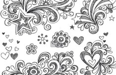 Hand Drawn Vector Floral Patterns 02