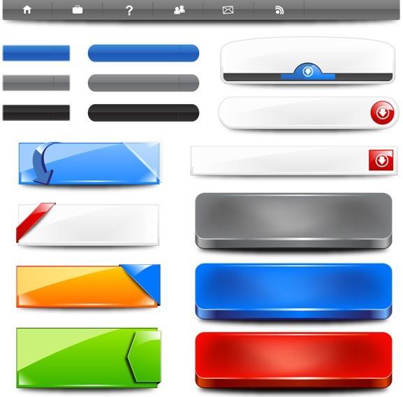 Navigation Bar and Banner Elements Vector