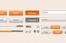 Orange and White Web GUI Kit (PSD)
