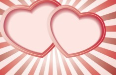 Pink Double Heart Vector Frame