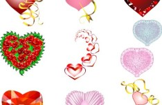 Red Heart-shaped Vector Material 02