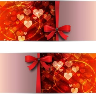 Red Ribbon and Heart-shaped Background Vector Banner