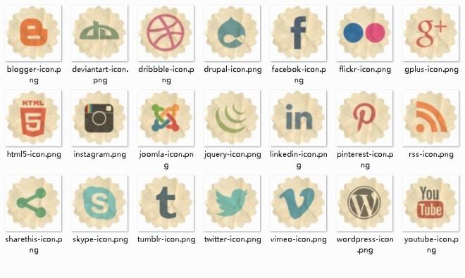 Retro Paper-Luke Social Icons