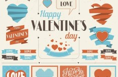 Retro Valentine's Day Labels and Ribbons