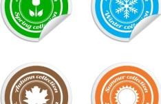 Round Seasonal Labels Vector