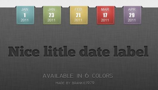 Set Of Elegant Little Date Label