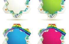 Set Of colorful Flower Border Vector 01
