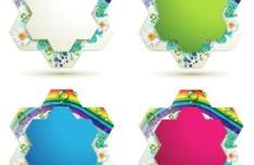 Set Of colorful Flower Border Vector 01