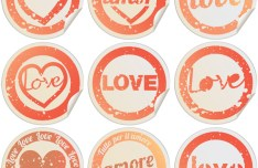 Valentine's Day Round Labels Vector 1