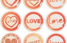 Valentine's Day Round Labels Vector 1