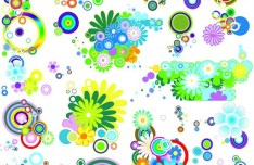 Various Colorful Vector Flowers
