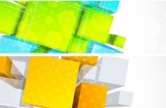 Vector Banners With 3D Color Blocks