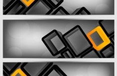 Vector Banners With Black Grids