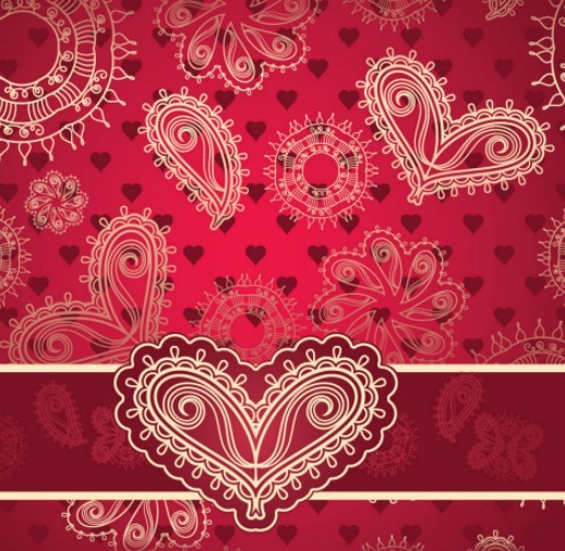 Vintage Heart-shaped Patterns Vector